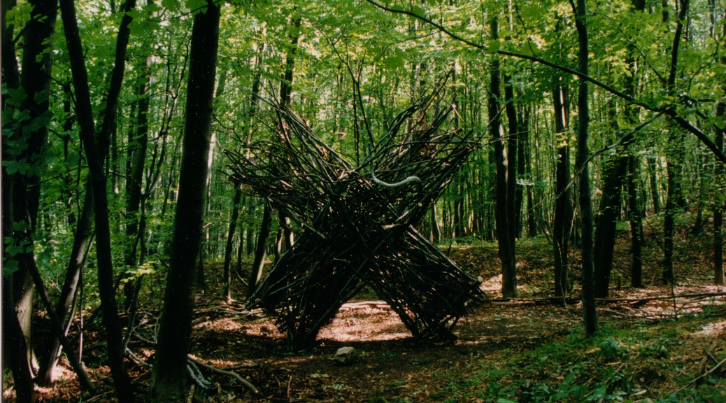 Buchenwald, sculpture in forest