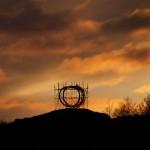 Sprung, sculpture, sunset